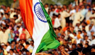 Indian-flag-at-the-India-Pakistan-border-closing-ceremony.