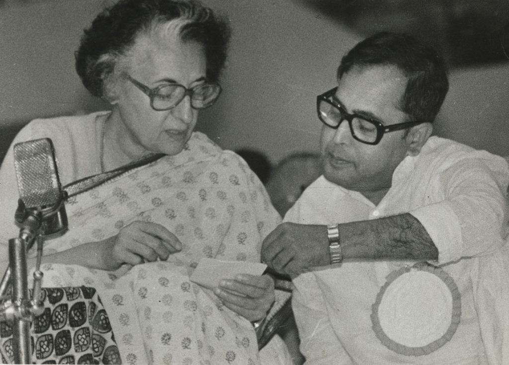 Mr. Pranab Mukherjee and Prime Minister Smt. Indira Gandhi at All India congress committee session in Calcutta on December 28, 1983.