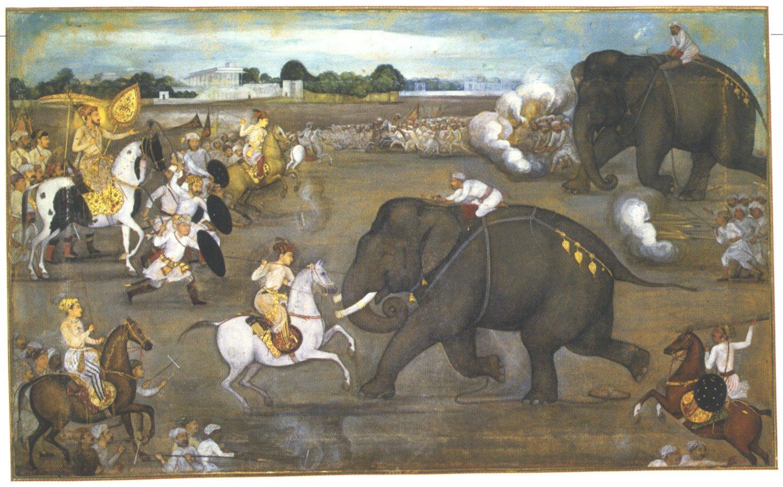 Prince_Awrangzeb_(Aurangzeb)_facing_a_maddened_elephant_named_Sudhakar_(7_June_1633)