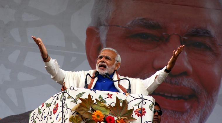 Prime minister Narendra Modi addresses the rally at Sher-e-Kashmir cricket stadium in Srinagar. Express Photo by Shuaib Masoodi 07-11-2015