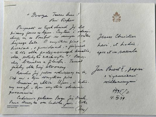 One of the letters the Pope had written to Anna.