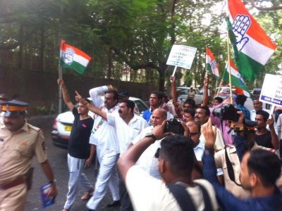 Congress workers in Mumbai staged a protest outside Kapoor's residence