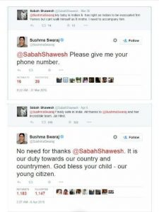 Anyone can reach out to Sushma Swaraj on Twitter. Just the way it should be.