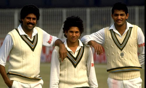 Oct 1989:  (L-R) Kapil Dev, Sachin Tendulkar and Mohammed Azharuddin all of India pose for the camera before the Test series against Pakistan in India.  Mandatory Credit: Allsport UK /Allsport