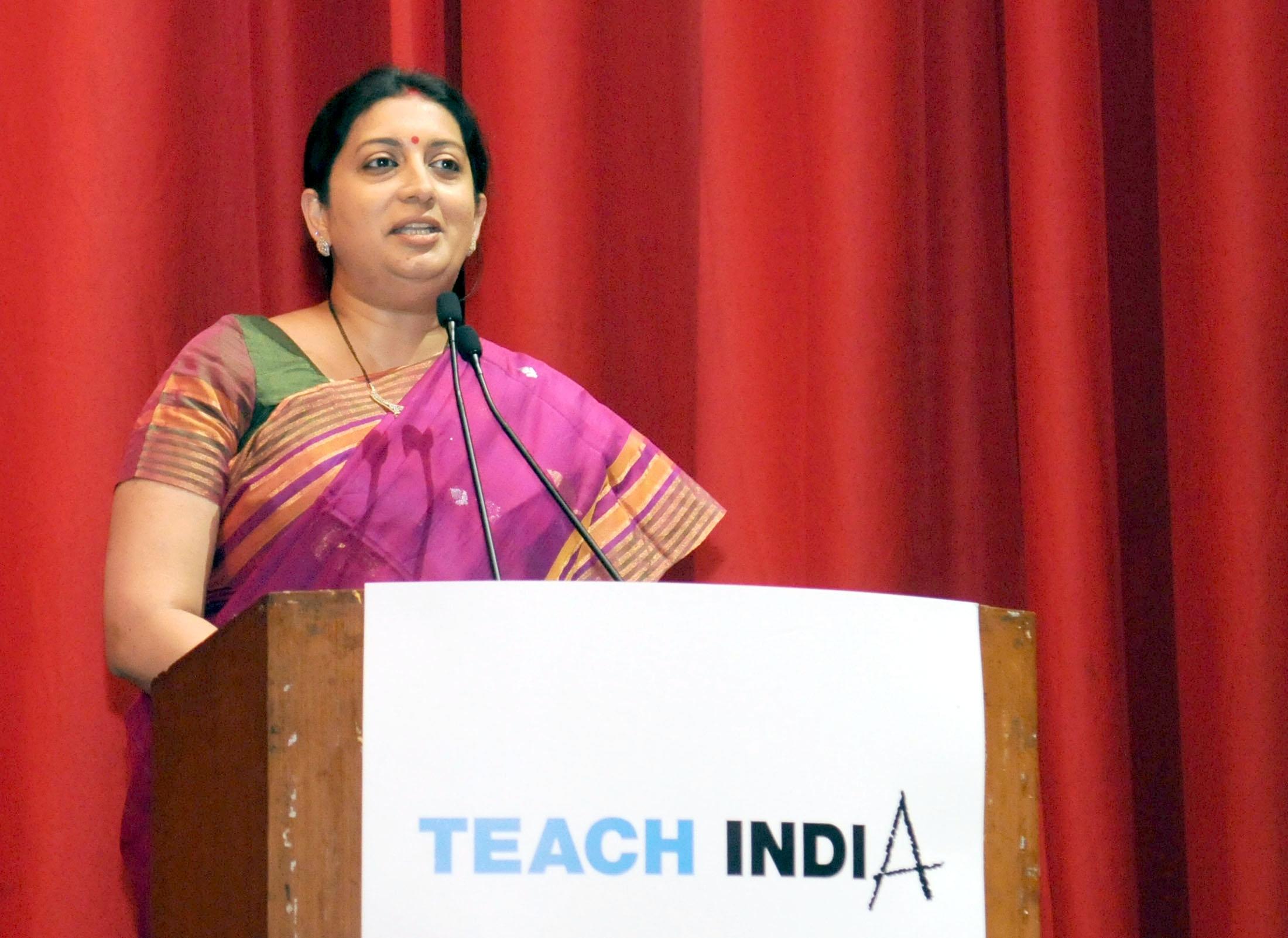 New Delhi: Union Human Resource Development Minister Smriti Irani addresses the Times Group's Corporate Social Responsibility (CSR) programme in New Delhi on June 10, 2015. (Photo: IANS/PIB)