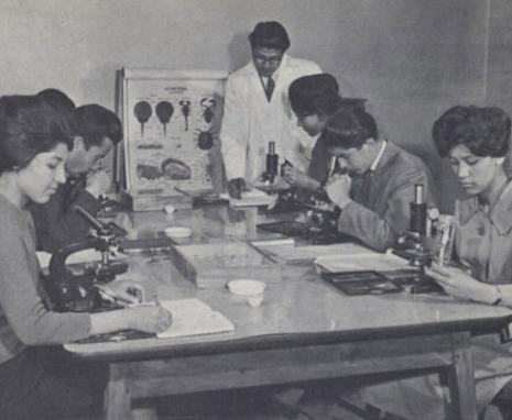Co-ed Biology class, Kabul University.