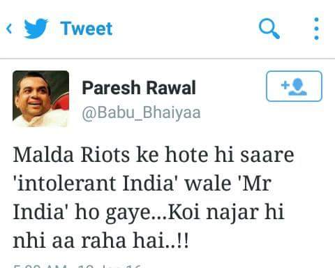 Paresh Rawal comment on  Malda riots