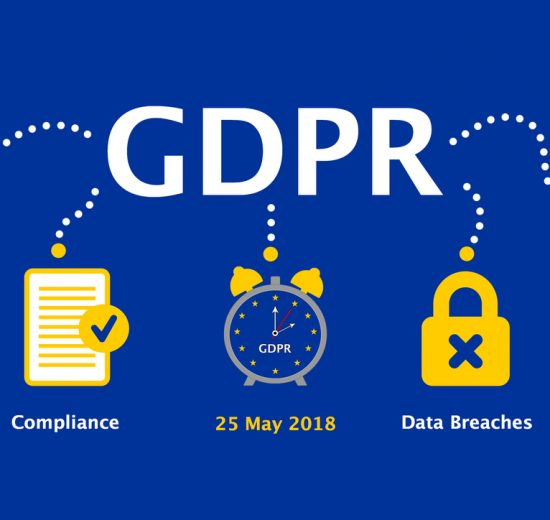 Illustration showing key elements of GDPR (effective 25 May 2018) - DPOs, Compliance, Data Breaches and Personal Data