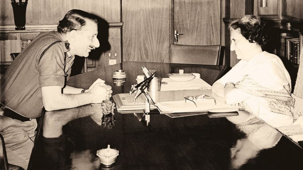 Field Marshal (then General) Sam Manekshaw meeting then Prime Minister Indira Gandhi