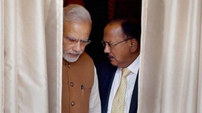 Figure PM Modi with NSA India Ajit Doval